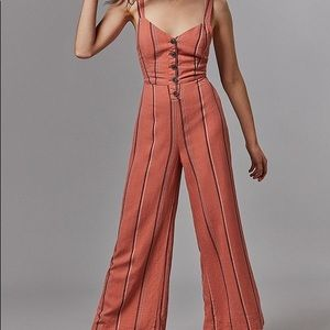 Pink UO Ashley Buttoned Tie-back Jumpsuit